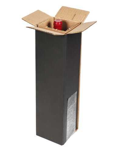 black wine shipping box for 1 bottle