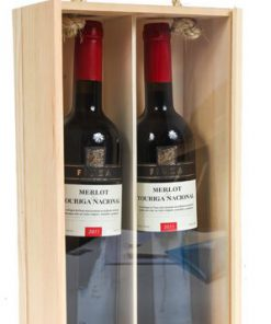 2 bottle wood wine box - clear lid