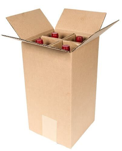 shipping box for four glass bottles