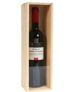 1 bottle wooden wine box with see-through lid