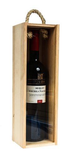 wood wine box - handle and see-throu lid